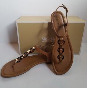 Michael Kors Mahari Brown Leather Thong Sandal 8.5